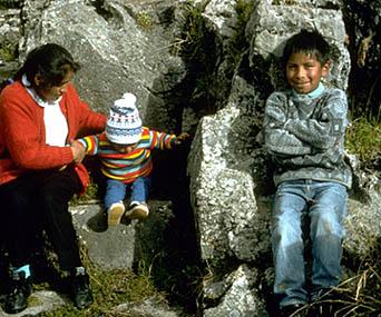 Nilda and Children Sitting on an Inca Seat