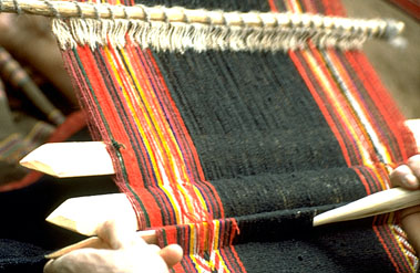 Close-Up View of Weaving a Manta