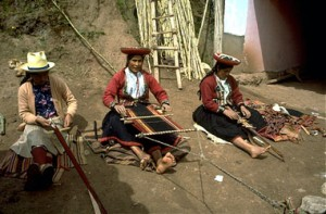 Family Weavers in the Courtyard